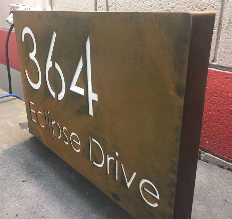 Corten Steel Led House Business Sign Laser Cutting